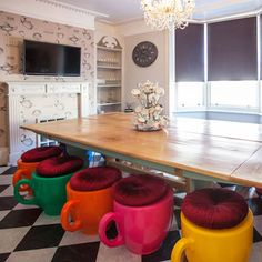 Teacup stools - love the colour and design!