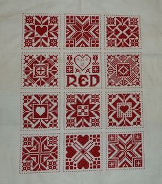 Red and white cross stitch on aida from Tom Pudding designs