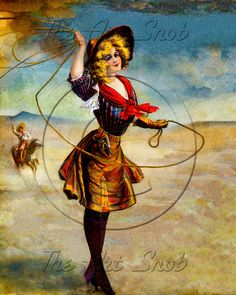 Early 1900's Pinup style Cowgirl itemC8 by TheArtSnob on Etsy, $2.50