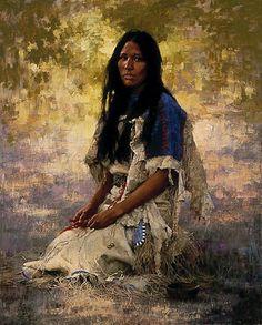 Autor: Howard Terpning, Pintura: woman of the sioux, País: Estados Unidos, Año: 1984.