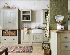 Use Kitchen Units And Turn Your Cooking Space Marvelous Simple Harvest Freestanding Kitchen Furniture - by the Old Creamery Furniture company - free standing kitchen units Free Standing Kitchen Units, Kitchen Base Units, Green Kitchen Cupboards, Wall Cupboards, Kitchen Floor, Kitchen Cabinets, Harvest Kitchen, Solid Wood Kitchens, Freestanding Kitchen