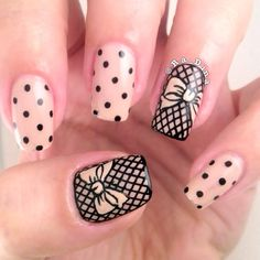 17 Bow Nail Art Designs That Are Too Adorable Not To Try - 17 Bow Nail Art Designs – Gorgeous fishnet with bows accent nails. The Effective Pictures We Offe - Bow Nail Designs, Nail Art Designs 2016, Pretty Nail Designs, Bow Nail Art, Cute Nail Art, Bow Art, New Years Eve Nails, Nails Polish, Lace Nails