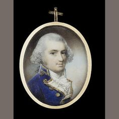 George Engleheart (British, 1750/3-1829) A Naval Officer called Admiral Byron, wearing Naval uniform, blue coat with gold edged white facings and buttons stamped with anchors, his hair powdered and worn en queue