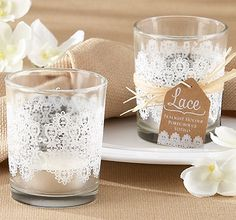 Lace Tea Light Holders - Party / Wedding favors and decorations