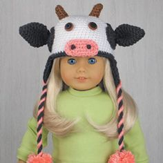 "COW HAT for AMERICAN GIRL DOLLS ~ Crochet pattern in the book ""Amigurumi Animal Hats for 18-Inch Dolls"" by Linda Wright. amazon.com/..."