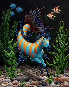 Deep Eden by EquusTenebriss on DeviantArt Mythical Creatures Art, Mythological Creatures, Magical Creatures, Fantasy Creatures, Sea Creatures, Weird Creatures, Fantasy Paintings, Animal Paintings, Horse Drawings