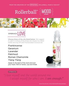 Essential oil roller bottle recipe to embrace love.