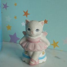 Kitty Cucumber vintage Porcelain collectable thimble Sugar Plum Ballerina box