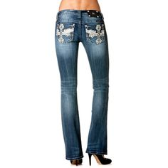 Miss Me Women's Winged Cross Boot Cut Jeans Need these!!