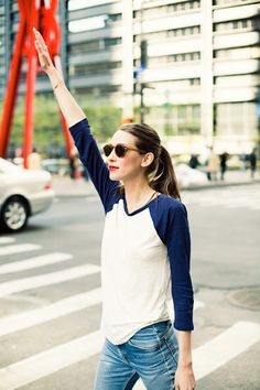 Raglan tee time.... Add some fabulous gold accents to dress it up a bit and it is the perfect casual.