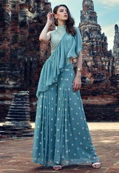 Buy designer salwar kameez and indian salwar kameez online. Order this georgette blue embroidered Designer Suit. Sharara Designs, Lehenga Designs, Kurti Designs Party Wear, Designer Party Wear Dresses, Indian Designer Outfits, Indian Outfits, Designer Gowns, Indian Gowns Dresses, Bridal Dresses