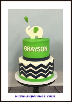 Tiered Cake For First Bother Day Lime Green Accents With Navy Blue Chevron Design And