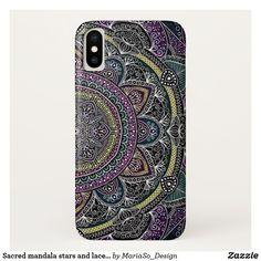 Sacred mandala stars and lace purple and black iPhone x case