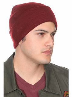 Maroon Knit Fold-Over Beanie | Hot Topic