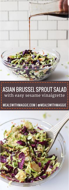 Try a lightened up version of a classic stir-fry dish with this an asian brussel sprout salad recipe. This high fiber dish pairs perfectly with salmon | Mealswithmaggie.com
