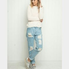 Brandy Melville distressed boyfriend jeans ?? BM light wash distressed boyfriend jeans ?super cute just a lil too holey for my liking :( only worn once by me but probs worn a few times by the original owner. Still in great condition! Cheaper through mercar? ?? Brandy Melville Jeans Boyfriend