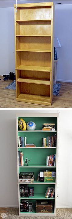 Don't get rid of that unsightly old laminate bookcase! Follow this tutorial to turn it into a unique piece with loads of character! :-)