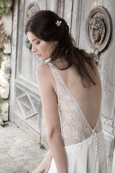 Robe de mariée en soie et dentelle www.aufildelise.cim