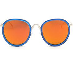 BLUE Around The World Mirrored Sunglasses (€5,78) ❤ liked on Polyvore featuring accessories, eyewear, sunglasses, blue, round mirrored sunglasses, round lens sunglasses, round mirror sunglasses, blue lens glasses and mirror sunglasses