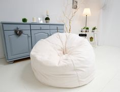 Giant, luxury, faux fur beanbag chair, luxury bean bag, white faux fur beanbag chair cover, beanbag for adults by Magicbeanbag on Etsy