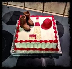 Cake for an oilfield worker complete with work boots and hard hat :) Could do mini Oilfield things for cupcakes/Pedi fours! Retirement Cakes, Retirement Parties, Cake Cookies, Cupcake Cakes, Oilfield Trash, Oilfield Wife, Grooms Table, Cookie Decorating, Wayne Rainey