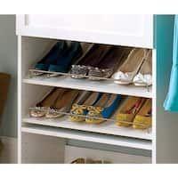 "white closet shelves 25 ""flanked by two Closet Shelves, Closet Storage, Closet Organization, Shoe Organizer, Laundry Organizer, Organizers, Attic Storage, White Shoe Rack, Affordable Storage"