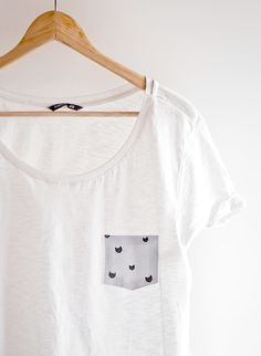 Oh the lovely things: 10 Minutes DIY: No Sew Pocket T-Shirt.    great DIY @Reagan Styles