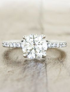Luna is a classic diamond pave solitaire engagement ring by Ken + Dana Design.