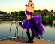 Adult tutu,maleficent tutu skirt, gothic tutu, rave raver tutu, steampunk clothes, Burlesque clothes,  high low tutu, bustle tutu halloween by TutuHot on Etsy