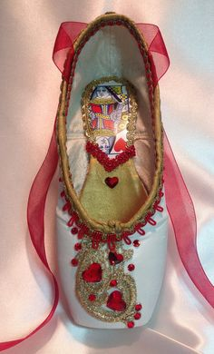 Queen of Hearts  themed pointe shoe. READY TO by DesignsEnPointe