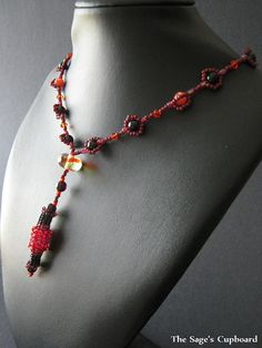 Fire Pendant Handmade Beaded Y Necklace in Black by sagescupboard, $38.00