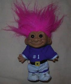 "Vtg 90's Russ Berrie Troll Doll 6"" Toy Pink Hair & Sports Football - Brought to you by Avarsha.com"