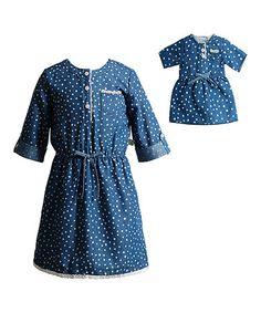 This Denim & Ivory Dot Dress & Doll Dress - Kids is perfect…