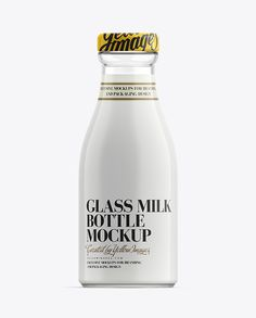 Glass Bottle of Milk Mockup. Preview
