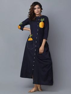 ea7e34adc3 Buy Lovely Navy Designer Embroidered Partywear Pure Rayon Kurti at Rs.  latest Partywear Kurti for womens at Peachmode.
