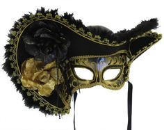 Colorful Pirate Mask, Flowers and Hat - Black & Gold for Female - by RedSky Trader