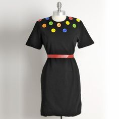 Vintage 1980s POP ART Bright Buttons Dress Large by greasywaitress, $38.00