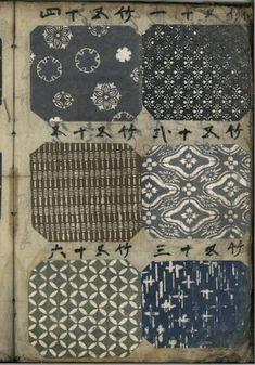 bluecrowcafe:Japanese KOMON pattern book, 19th century, Katazome...