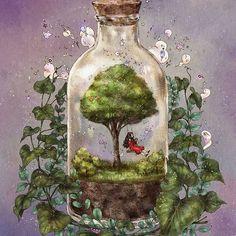 기억을 담아 (http://grafolio.com/illustration/158969) #일러스트 #일러스트레이션 #나무 #소녀 #유리병…