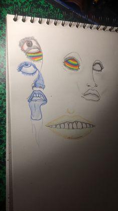 Dessin d'œil, de lèvres, couleurs et bleu et crayon gris, décalage, superposition