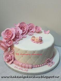 Kakesalg Akershus: Dåpskake Jente Cake, Desserts, Food, Design, Tailgate Desserts, Pie, Kuchen, Dessert, Cakes