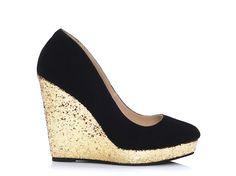 I Black & Gold Glitter Wedge Heels |