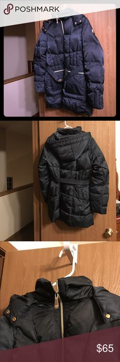 Vince Camuto winter jacket midnight blue Dark midnight blue Vince Camuto winter jacket with gold accents. Pockets with zippers and hood. Size large.  Can be worn without belt. The jacket is lightweight but I think I Will need extra postage. Two by Vince Camuto Jackets & Coats Puffers