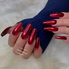 Pin by Danielle Hansen on Pretty Nails Red Chrome Nails, Chrome Nail Art, Nail Swag, Long Red Nails, Crome Nails, Velvet Nails, Vacation Nails, Red Nail Designs, Ballerina Nails