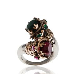 Sterling Silver Ring , Silver Ring , The Zerbap Majori Ring with Zircon, Ruby, Emerald Stone , Ruby Ring , Emerald Ring , Zircon Ring by Rosestyle on Etsy