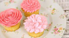 Amazing Buttercream Flower Cupcakes - rose 104, begonia 102 and chrysanthemum 102 - cupcakes