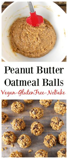 Peanut Butter Oatmeal Balls- easy, delicious, and made in under 5 minutes! You will love these! Gluten free, dairy free, vegan and so good!