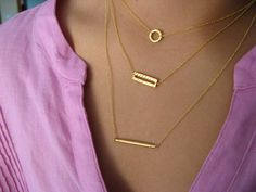 Dainty 14K Gold Filled Layering Necklaces - strand necklace - minimalist - geometric jewelry
