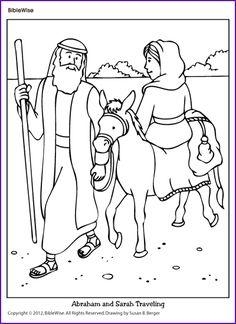 Coloring (Abraham and Sarah Traveling) - Kids Korner - BibleWise