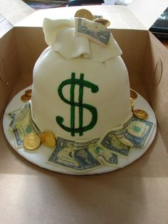 6 3 Layered Cake Covered In MMF Bag With Edible Image Amp Money Birthday CakeDad